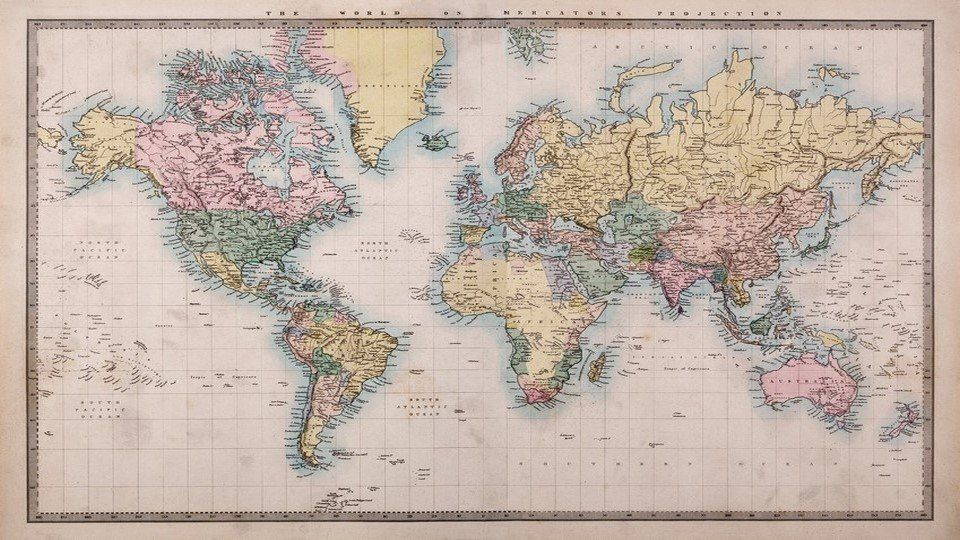 DH-90017006 - Harita Temalı Kanvas Tablo