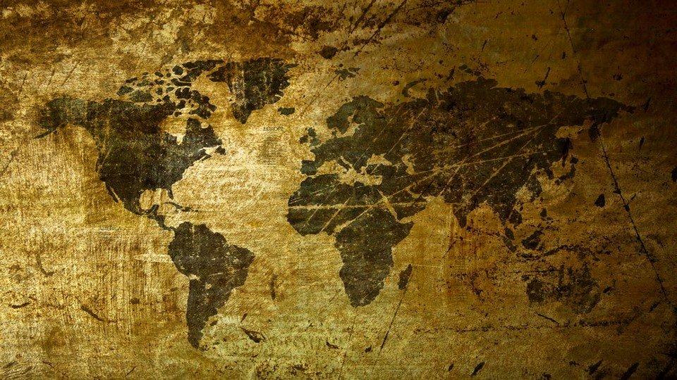 DH-90017018 - Harita Temalı Kanvas Tablo