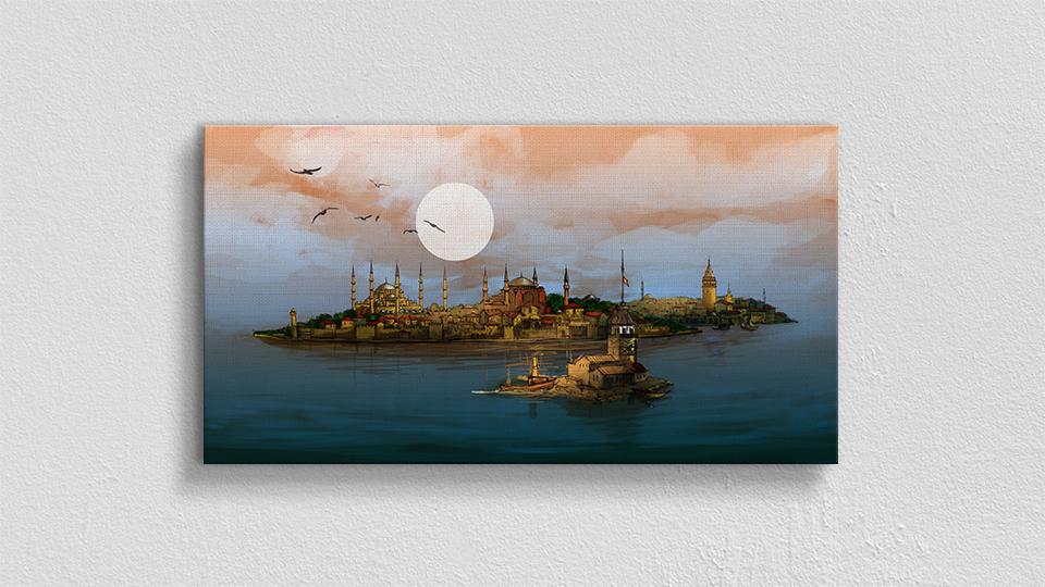 Sanatsal Çizim İstanbul Kanvas Tablo