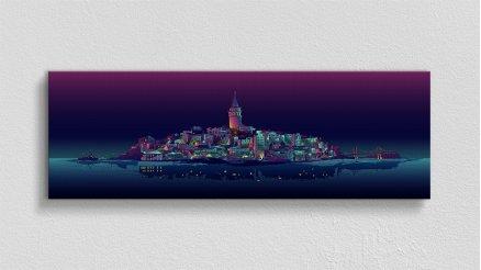 Ilüstrasyon İstanbul Gece Kanvas Tablo