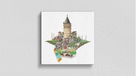 Galata Kulesi İlüstrasyon Kanvas Tablo