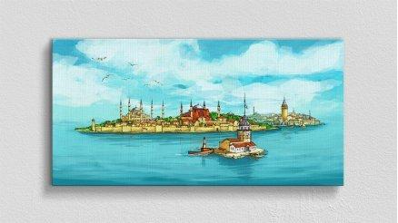 İstanbul Boğazı ve Kız Kulesi Kanvas Tablo