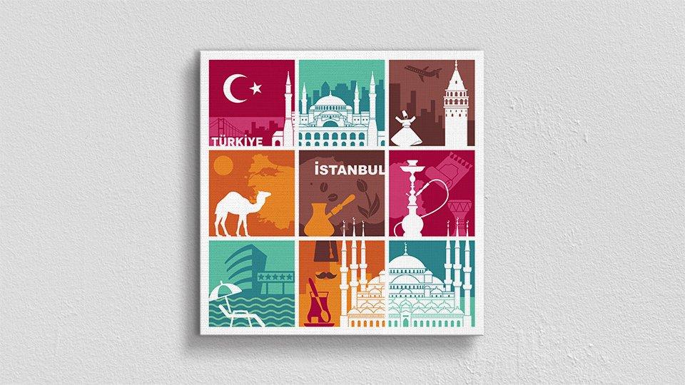 Minimalist İstanbul Simgeleri Kanvas Tablo