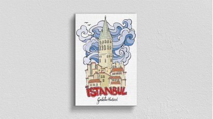 İstanbul İlüstrasyon Kanvas Tablo