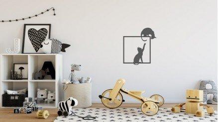 Çerçeve İçindeki Kedi Duvar Stickeri