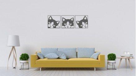 Çerçeveli 3 Parça Kedi Duvar Stickeri
