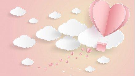Pembe Zeminli Bulutlu Duvar Kağıdı