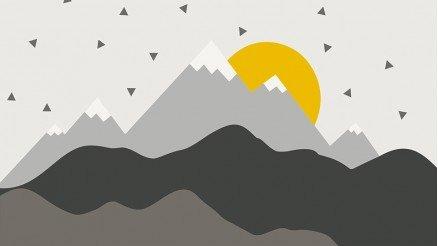 İlüstrasyon Dağlar Güneş Duvar Kağıdı