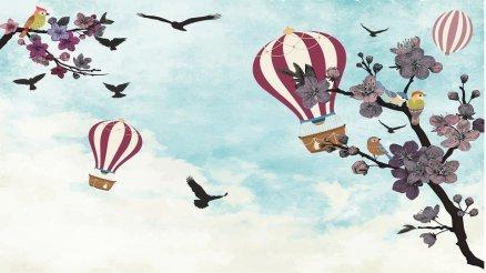 Balonlar ve Kuşlar Duvar Kağıdı