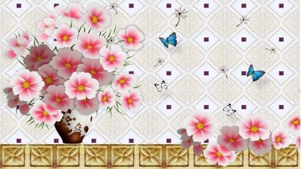 Çiçekli 3 Boyutlu Duvar Kağıdı