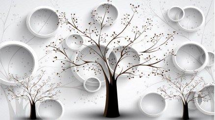 Ağaçlı Kabartma Daireli Duvar Kağıdı