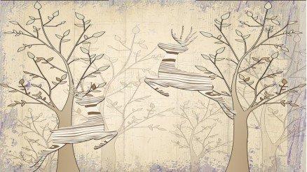 Ağaçlar ve Karaca Duvar Kağıdı