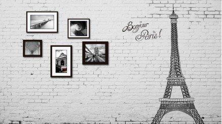 Eiffel Temalı Çerçeveli Duvar Kağıdı