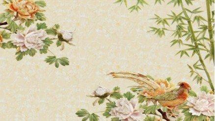 Kuş ve Çiçek Temalı Duvar Kağıdı
