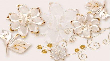 Altın Çiçek Temalı Duvar Kağıdı