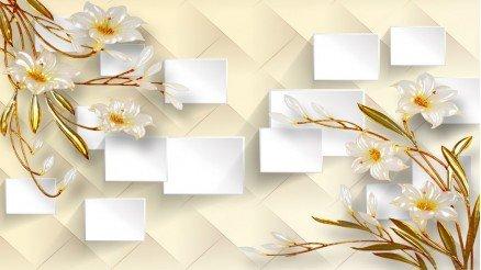 Kutucuklu Papatyalı Duvar Kağıdı