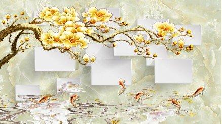 Sarı Çiçekli Dallar Duvar Kağıdı