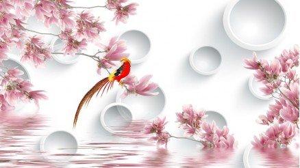 Kuş ve Bahar Çiçekli Duvar Kağıdı
