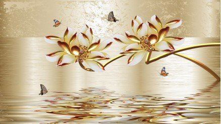 Altın Çiçekli Duvar Kağıdı