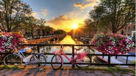 Köprü Üzerindeki Bisikletler Duvar Kağıdı
