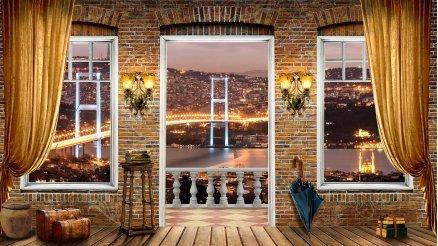 Boğaz Köprüsü manzaralı Balkon Duvar Kağıdı