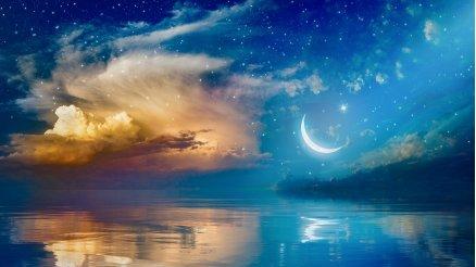 Güneş ve Ay Deniz Manzaralı Duvar Kağıdı