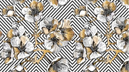 Altın Rengi Çiçekler Duvar Kağıdı