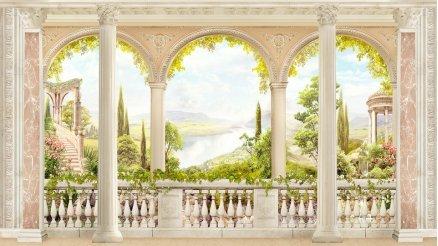 Cennet'e Açılan Sütunlu Balkon Duvar Kağıdı