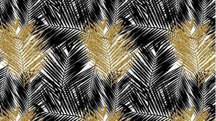 Palmiye Yapraklı Siyah ve Altın Rengi Duvar Kağıdı