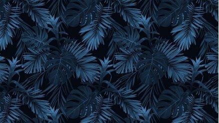 Gece Mavisi Palmiye Yaprakları Duvar Kğaıdı