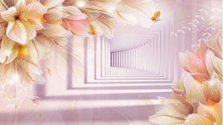 Çiçek Temalı Tünel Derinlik Duvar Kağıdı