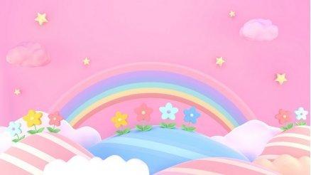 Pembe Renkli Çocuk Odası Duvar Kağıdı