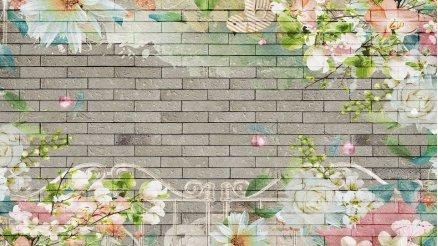 Taş Duvar Üzerindeki Floral Desen Duvar Kağıdı