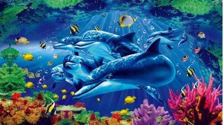 Su Altı Yunus Balığı Çocuk Odası Duvar Kağıdı