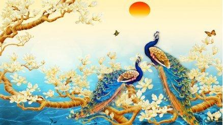 Tavus Kuşu Temalı Sanatsal Duvar Kağıdı