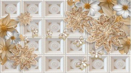 Kabartma Temalı Floral Desenli Duvar Kağıdı