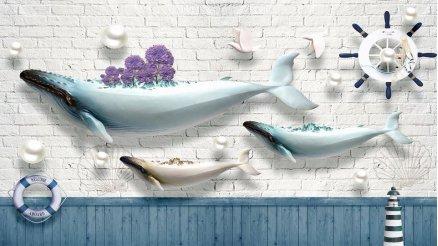 3 Boyutlu Fok Balığı Duvar Kağıdı