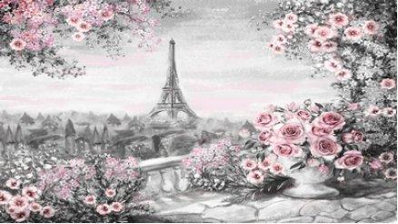 Eyfel Kulesi Çizim Duvar Kağıdı