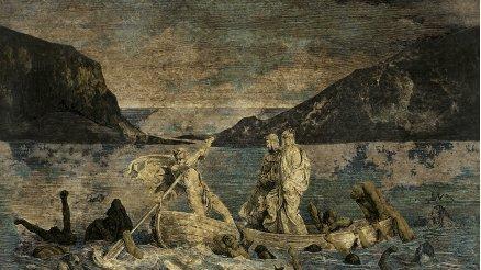 Antik Roma Heykelleri Denizde Vintage Duvar Kağıdı