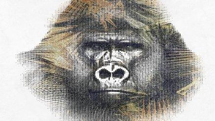 Büyük Goril Kafası Silüeti Vintage Duvar Kağıdı