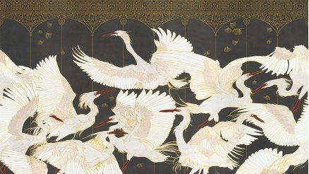 Beyaz Büyük Kuşlar Desenli Duvar Kağıdı