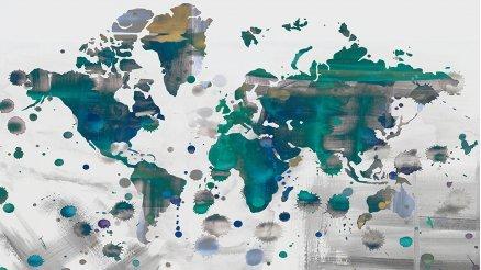 Boya ve Fırca Darbeleriyle Dünya Haritası Duvar Kağıdı