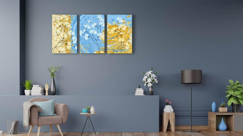 Sarı ve Mavi Çiçek Temalı Kanvas Tablo