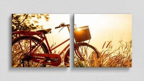 Bisiklet ve Gün Batımı Kanvas Tablo