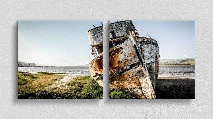 Karaya Vurmuş Tarihi Gemi Kanvas Tablo