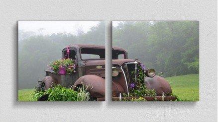 Çiçekler Açan Hurda Araba Kanvas Tablo