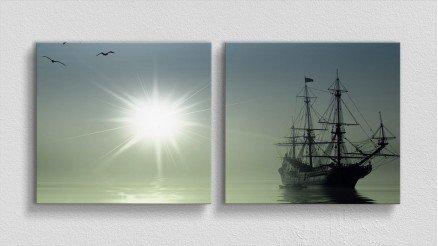 Güneş ve Eski Gemi Kanvas Tablo