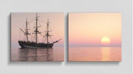 Gün Batımı ve Yelkenli Gemi Kanvas Tablo