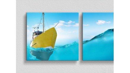 Mavilerin İçindeki Sarı Gemi Kanvas Tablo