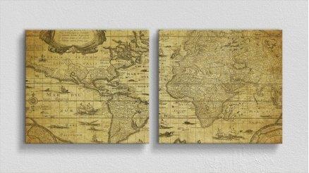 DH-90017003 - Harita Temalı Kanvas Tablo
